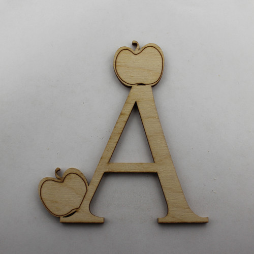 """A is for Apple"" / Whimsical Wooden Alphabet Letter"