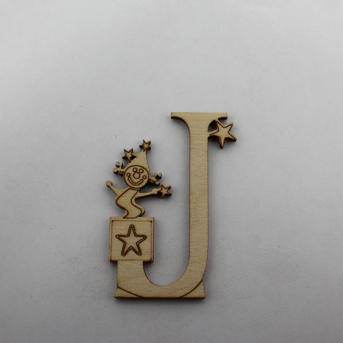 """J is for Jack in the Box"" / Whimsical Wooden Alphabet Letter"