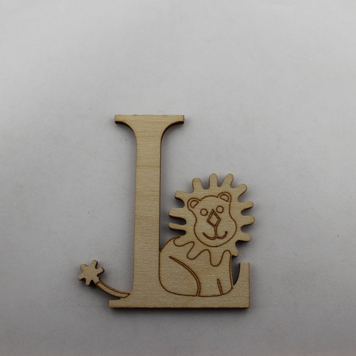 """L is for Lion"" / Whimsical Wooden Alphabet Letter"