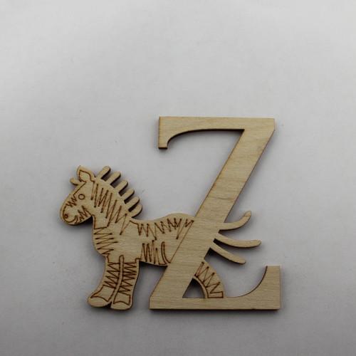 """""""Z is for Zebra"""" / Whimsical Wooden Alphabet Letter"""