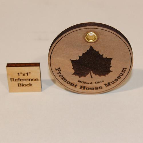 Laser engraved wood medallion