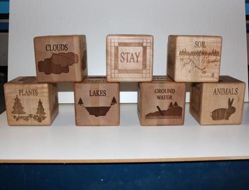 Laser engraved wooden blocks
