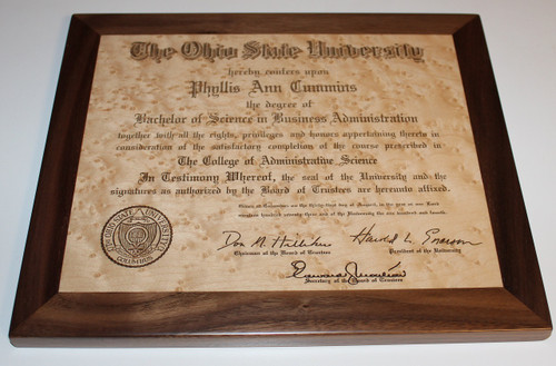 College degree laser engraved in maple and walnut