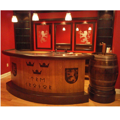 Bar with laser engraved curved front panels