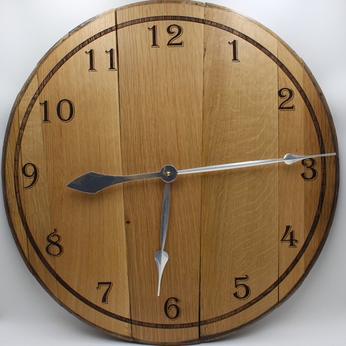 Barrel Head clock - plain face with silver hands