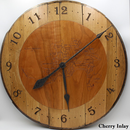 Barrel head clock with Cincy map