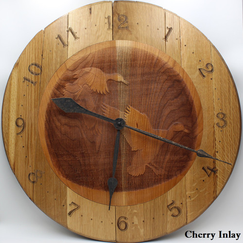 Barrel Head Clock with Mallards in Flight on Cherry Inlay