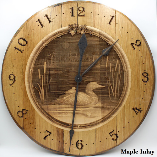 Barrel Head Clock with Loon in Pond Scene on Maple Inlay