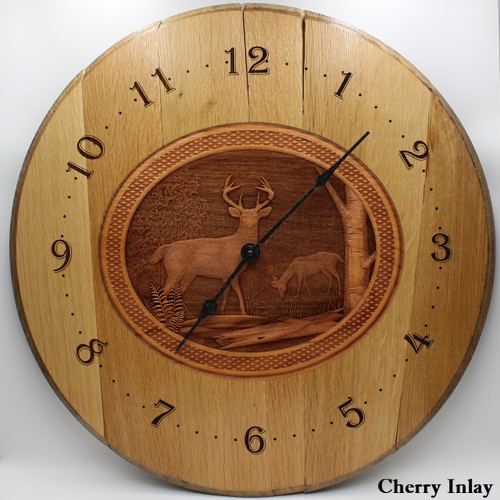 Barrel Head Clock with Deer in Forest Scene on Cherry Inlay