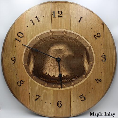 Barrel Head Clock with Patriotic Eagle in Maple Inlay