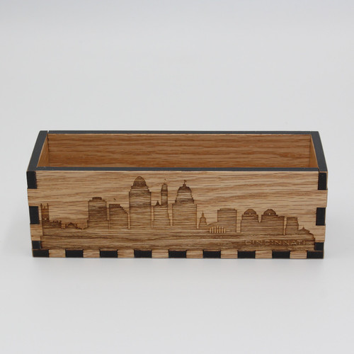 Oak Desktop Organizing Bin with Engraved Cincinnati Skyline