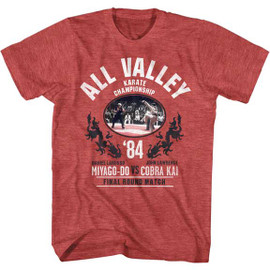 KARATE KID-ALL VALLEY CHAMP-S/S TEE-HEATHER RED