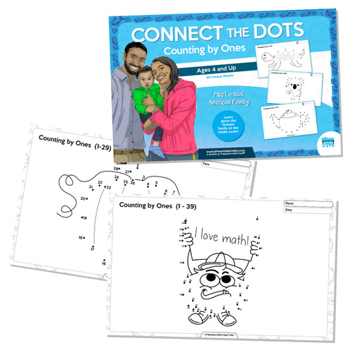 "Build one-to-one correspondence and counting skills with our ""Counting by ones"" Connect the Dots book. Choose ""placemat size"" or ""book"" size to fit your needs."
