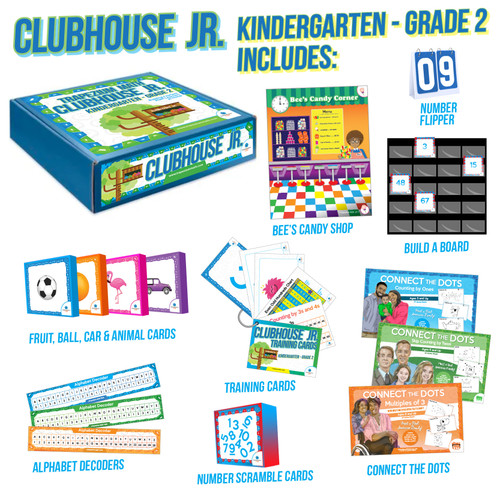"TO BE PURCHASED IN CONJUNCTION WITH CLUBHOUSE JR. CLASSES! The Clubhouse Jr. Kit has everything your child will need to engage in weekly math club meet ups. Our curriculum is designed to be hands-on, rigorous and at your child's ""just right"" math level."