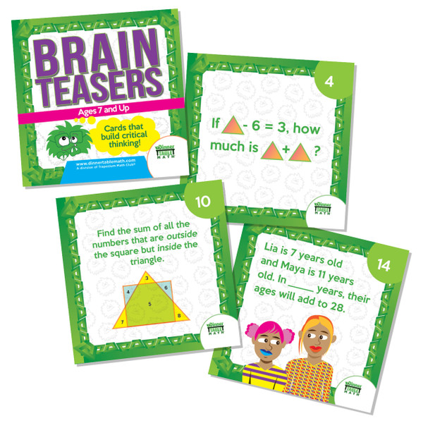 """Brain Teasers are designed for children who enjoy a challenge and may exhibit signs of being """"bored"""" in class. Brainteasers are modeled on the types of questions asked on national and international math contests for elementary school children. Brainteasers are a perfect supplement for your gifted child or as a challenge for children who find traditional math instruction boring. Each deck comes with 20 question cards and detailed explanations for their solution."""