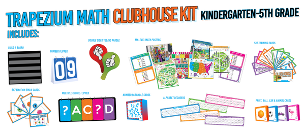 """The Clubhouse Kit has everything needed to engage with the Trapezium Math Curriculum. Our curriculum is designed to be hands-on, rigorous and at each child's """"just right"""" math level."""