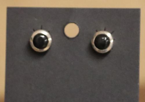 Sterling Silver Onyx Dot Earrings