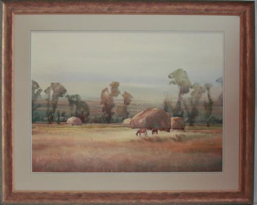 """""""Haystacks & Horses"""" watercolor by Jean Halverson"""