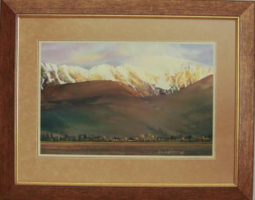 """""""Golden Snow"""" watercolor by Jean Halverson"""