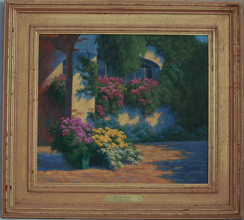 """In the Garden"" oil by Charles Fritz"