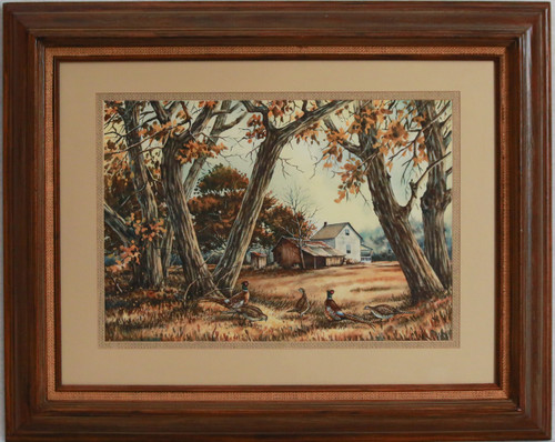 """Pheasants at the Old Place"" watercolor by Bob Kercher"