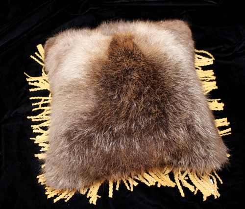 Beaver Hide & Leather Pillow with Fringe