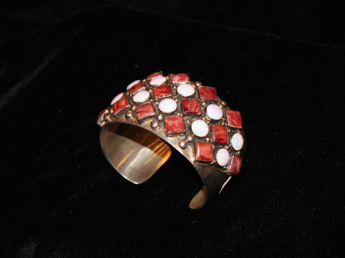 Spiny Oyster & Opal Cuff