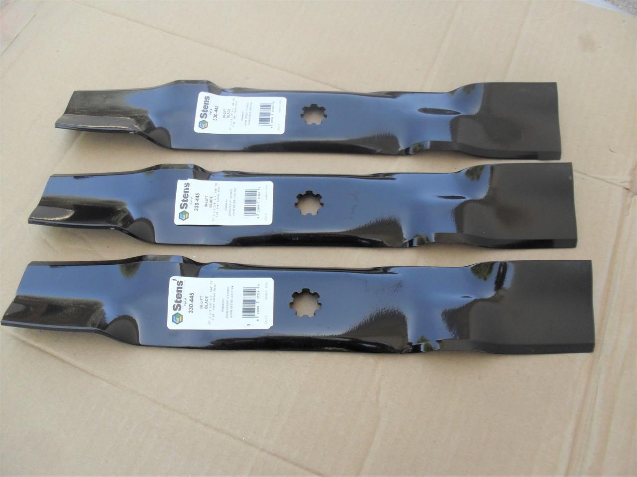 """48/"""" Deck Belt /& Mulching Blade Kit For John Deere D140 D150 LA130 LA140 LA145"""