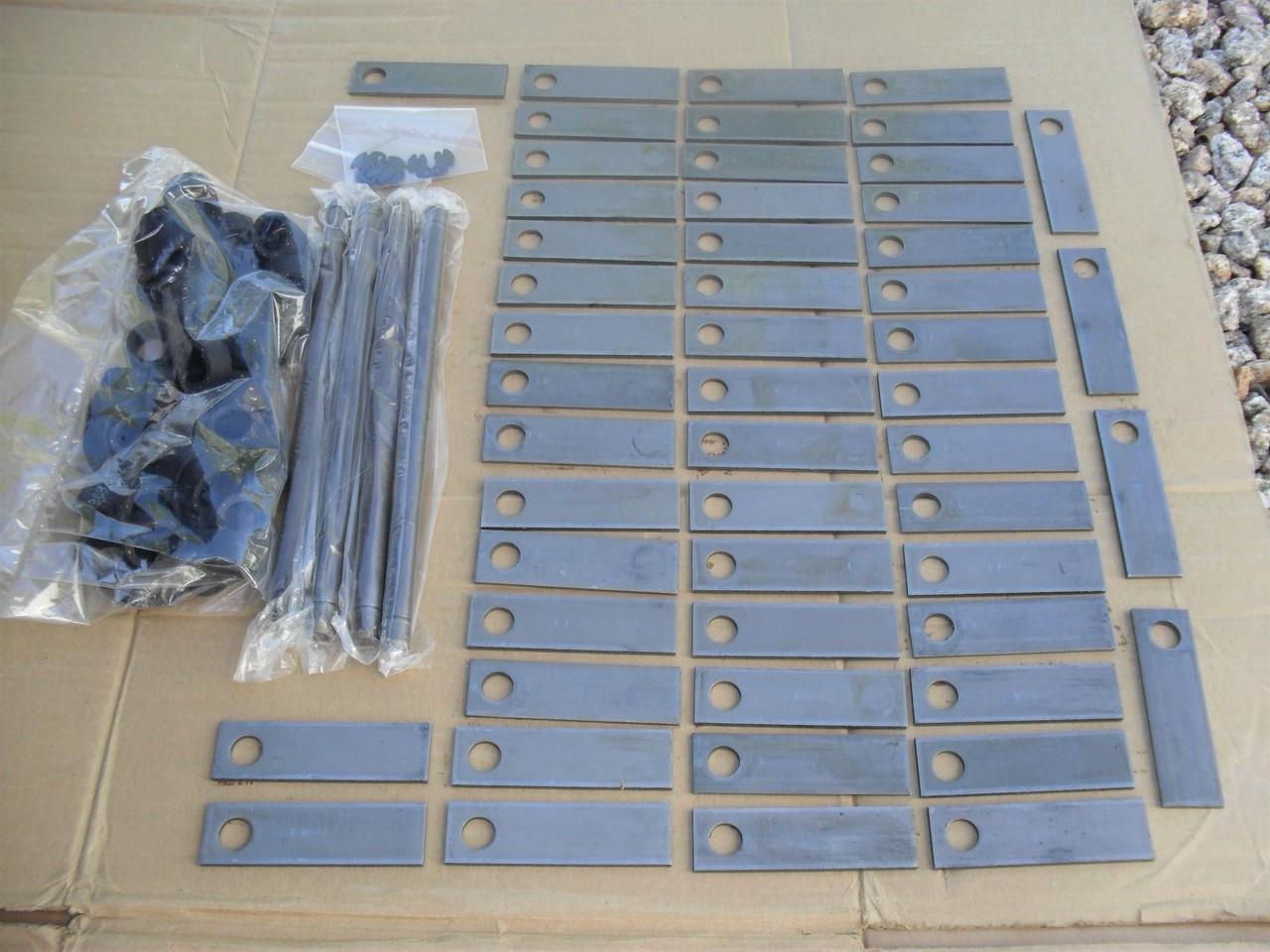"Thatcher Rebuild Kit for BlueBird F20B and C18, 5201, 5002, 5004 Teeth Blades 3-1/2"", Bushings, Shafts with Clips dethatcher, aerator, blue bird"