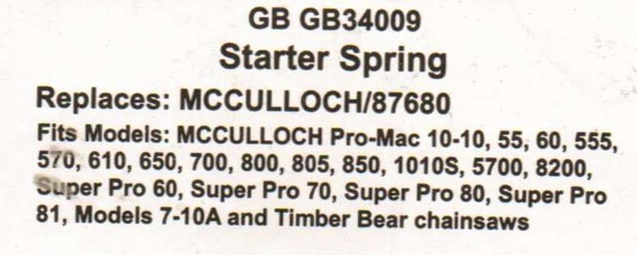 Recoil Starter Spring for Mcculloch Pro Mac 10 10, 1010, 55, 60, 555, 570,  610, 650, 700, 800, 805, 850, 1010S, 5700, 8200, Super Pro 60, Super Pro