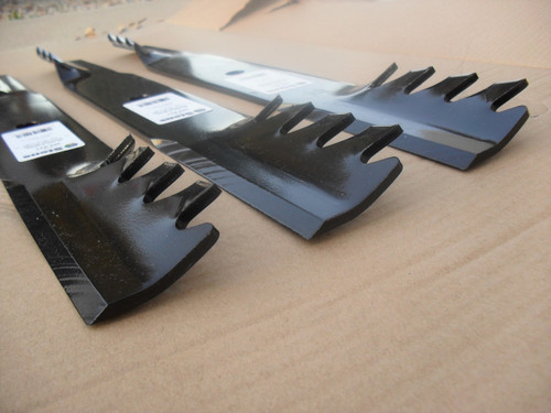 """Mulching Toothed Blades for Lastec 61"""" Cut P246, P322, P-246, P-322, Made In USA, mulcher tooth"""