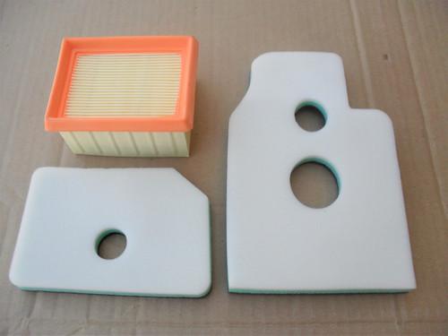 Air Filter Kit for Wacker BTS930, BTS930 L3, BTS935, BTS935 L3, BTS1030, BTS1030 L3, BTS1035, 394173010 Includes Foam Pre Cleaner