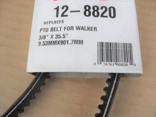 PTO Belt for Walker C and T, 6231 lawn mower, Made In USA