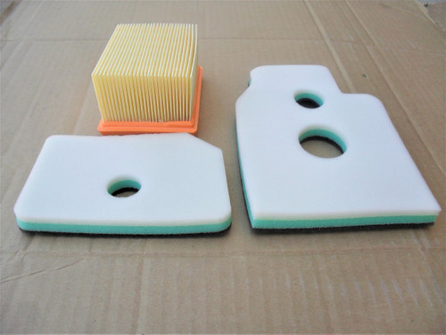 Air Filter Kit for Dolmar PC6412, PC6414, PC7312, PC7314 Cut Off Saw 394173010, 394 173 010 Includes Foam Pre Cleaner