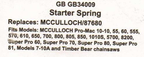 Recoil Starter Spring for Mcculloch Pro Mac 10 10, 1010, 55, 60, 555, 570, 610, 650, 700, 800, 805, 850, 1010S, 5700, 8200, Super Pro 60, Super Pro 70, Super Pro 80, Super Pro 81, Models 7-10A, Timber Bear chainsaw chain saw 87680