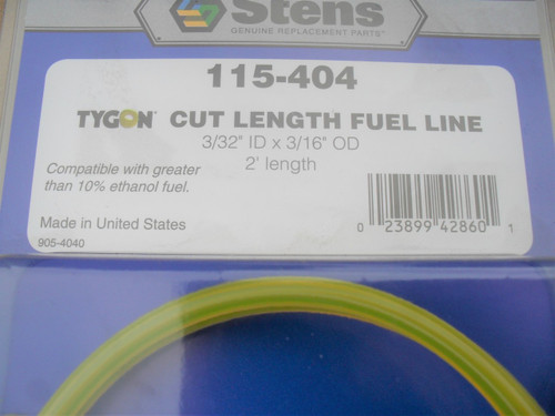 "Tygon Fuel Line ID: 3/32"" OD: 3/16"" Length: 2 ', Made In USA, Resists swelling and hardening, Oil and gas resistant, Maintains air tight seal on fittings even in extreme temperatures, 115-404"