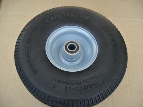 Wheel Tire for Little Wonder Blower 4.10 x 3.50 - 4, 4164205 Solid Foam Flat Free 410/350-4