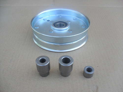 """Flat Idler Pulley for Wright Mfg Stander, Velke 71460094, Height 1-7/16"""", ID 3/8"""", OD 5-1/4"""" Made In USA"""
