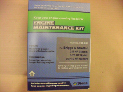 Engine Tune Up Kit for Briggs and Stratton Classic, Sprint and Quattro, Air Filter, Spark Plug, Oil 5107A, 5107B &