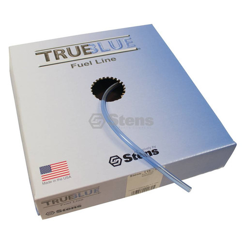 """Fuel Line ID: 1/4"""" OD: 3/8"""", 25 feet long, Translucent blue, High quality, Resists swelling and hardening, Made in USA 115-524"""