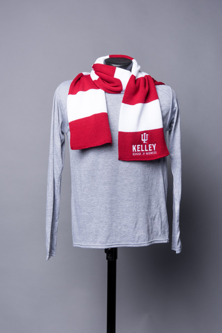 RUGBY RED AND WHITE STRIPED SCARF WITH EMBROIDERED LOGO