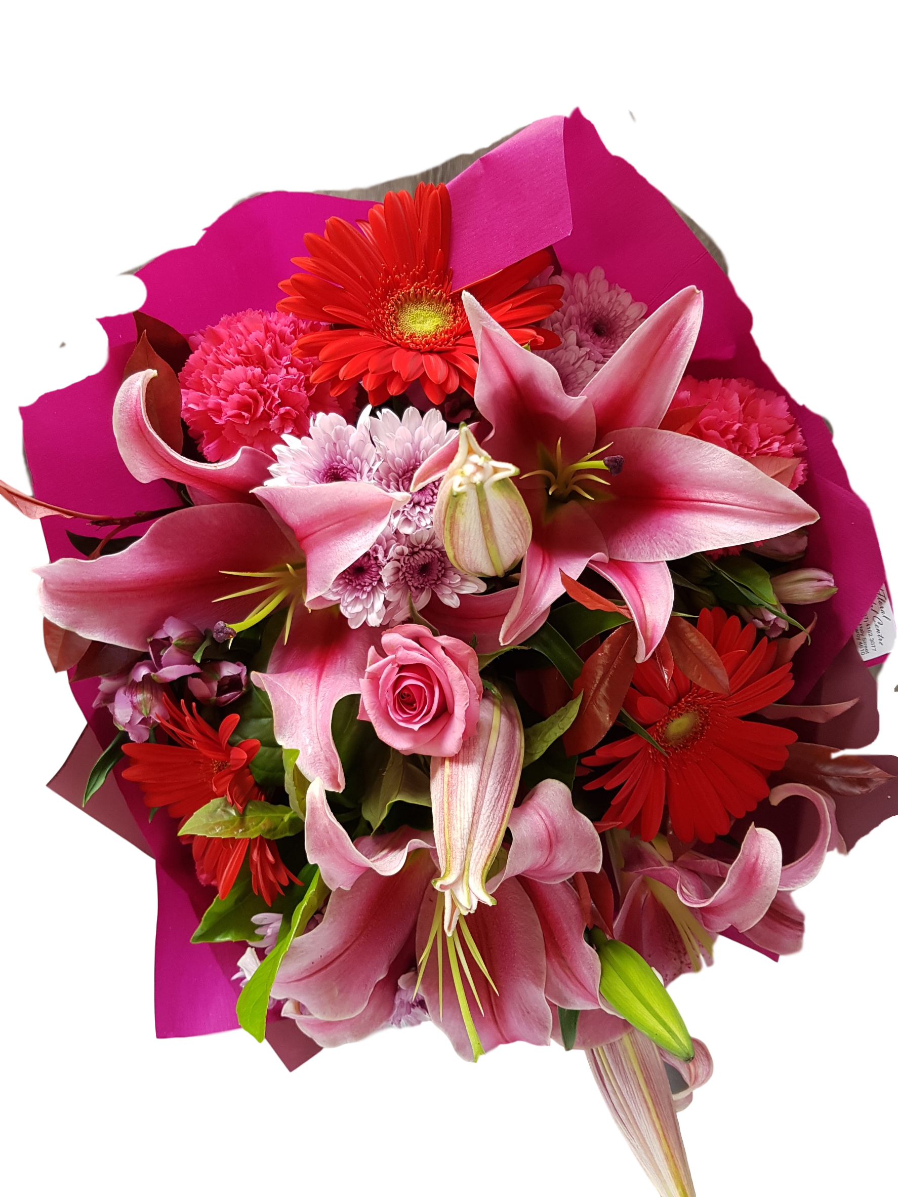 PINK BOUQUET INCLUDING LILIES, GERBERAS. ROSES, CHRYSANTHEMUMS, CARNATIONS AND ALSTROEMERIA.
