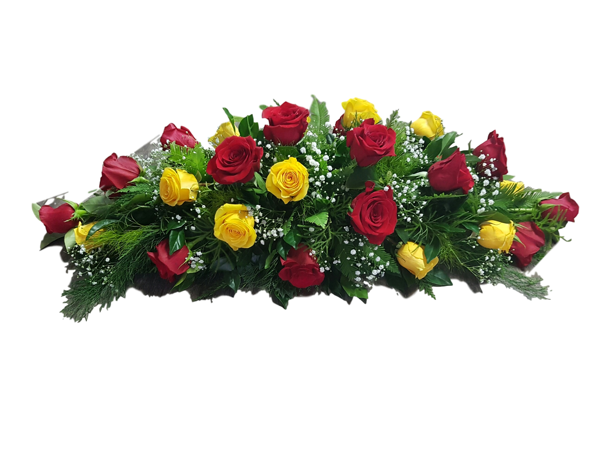 RED AND YELLOW ROSES AND A TOUCH OF BABY'S BREATH.