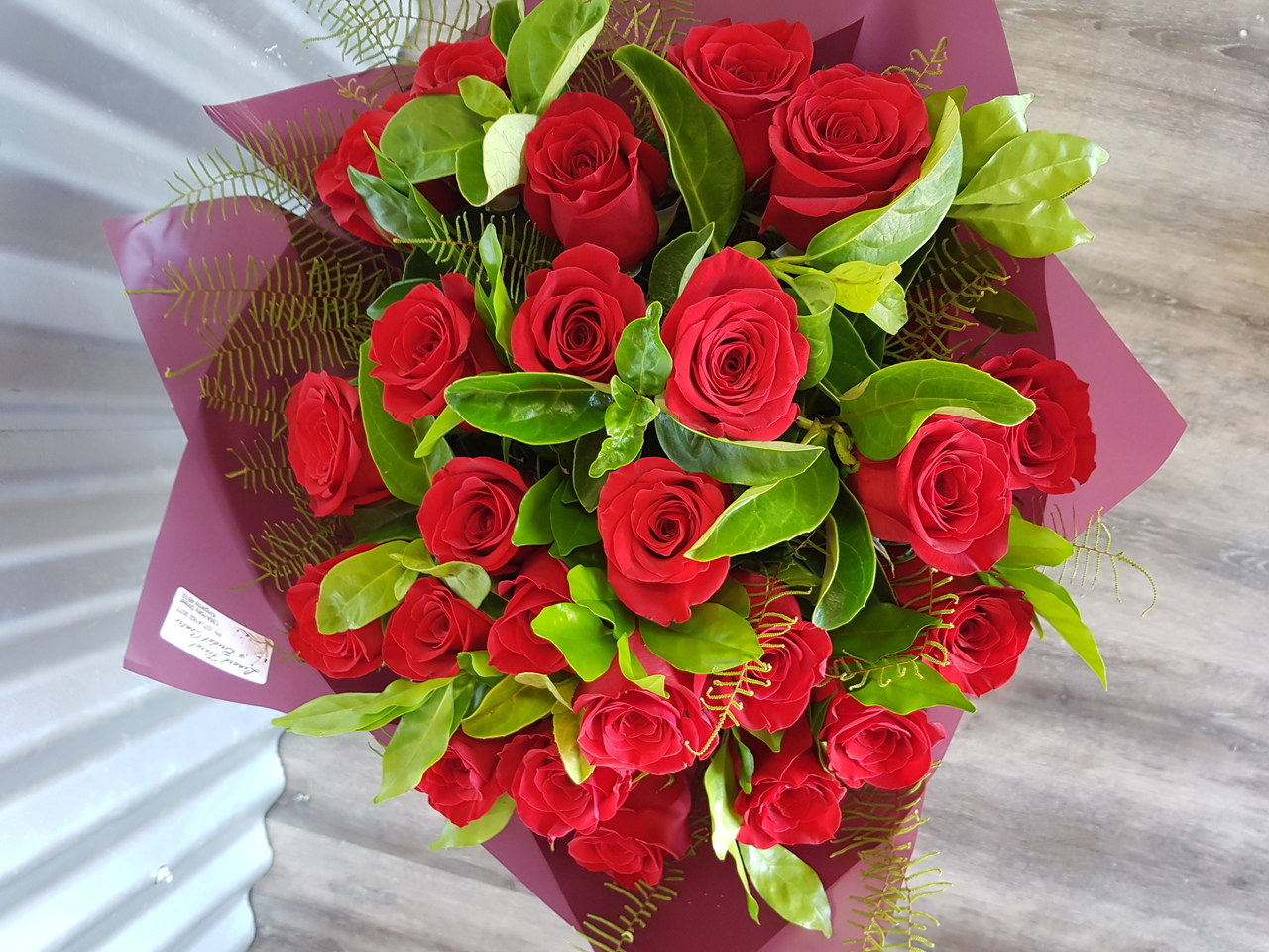 STUNNING RED ROSE BOUQUET - 25 ROSES AND GREENERY