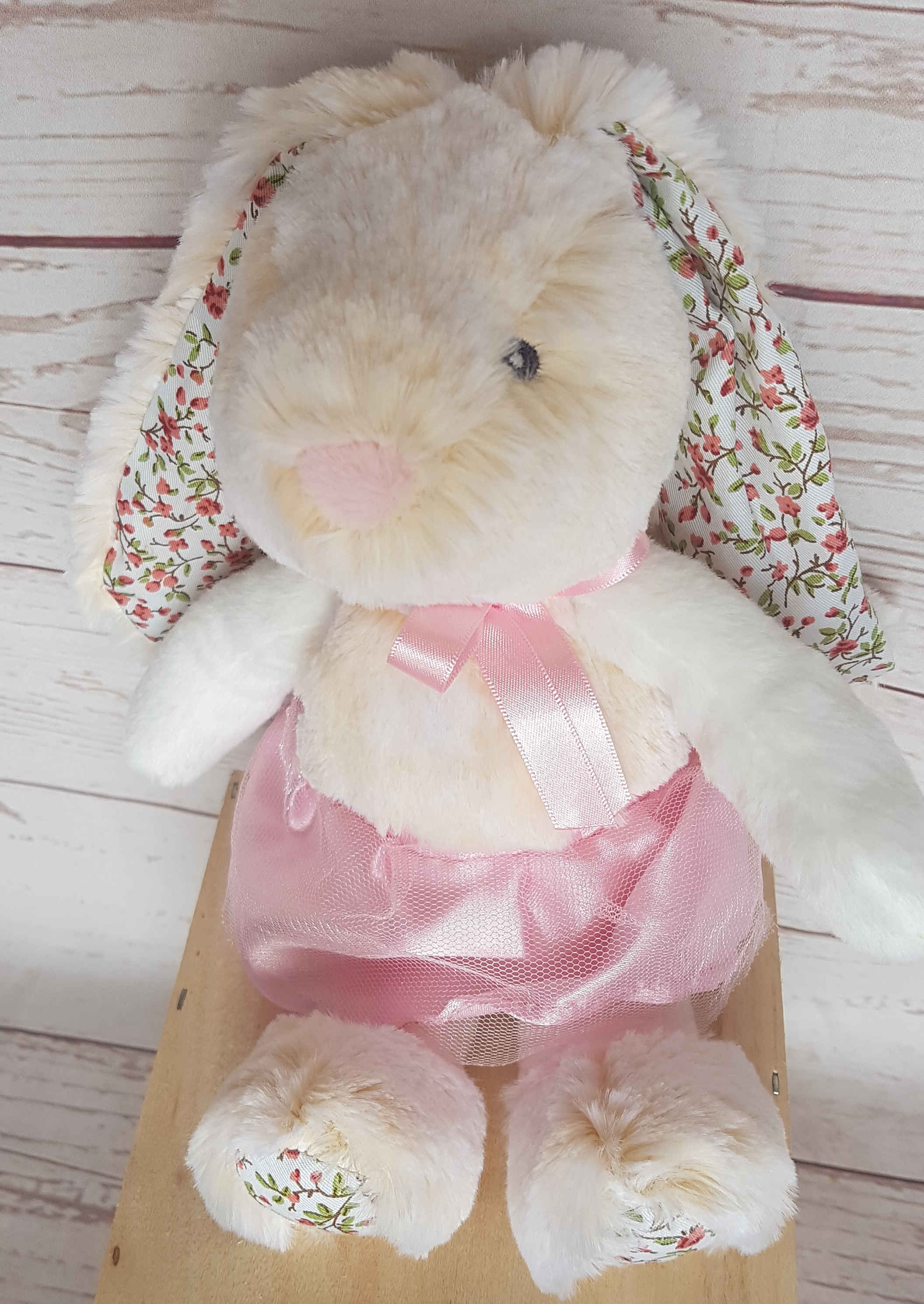 This beautifully stitched bunny is a treasure for any little girl.