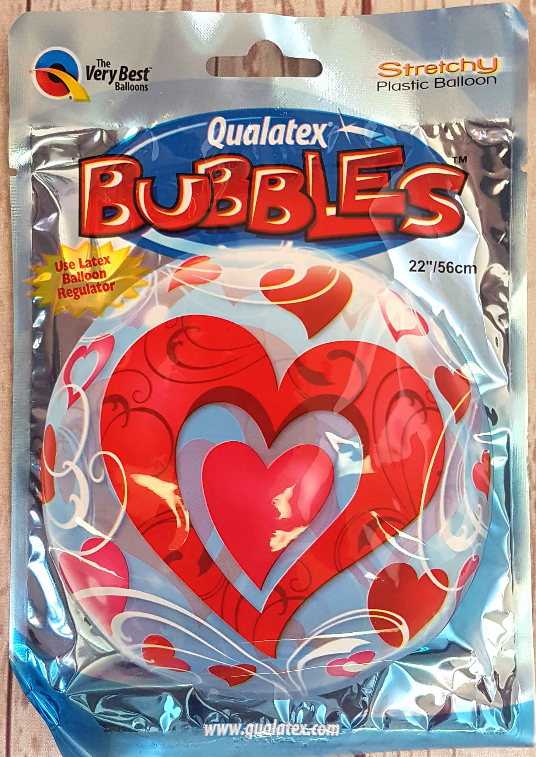 Bubbles, the texture of this balloon appears like a bubble ball, a massive 58 cm when inflated.