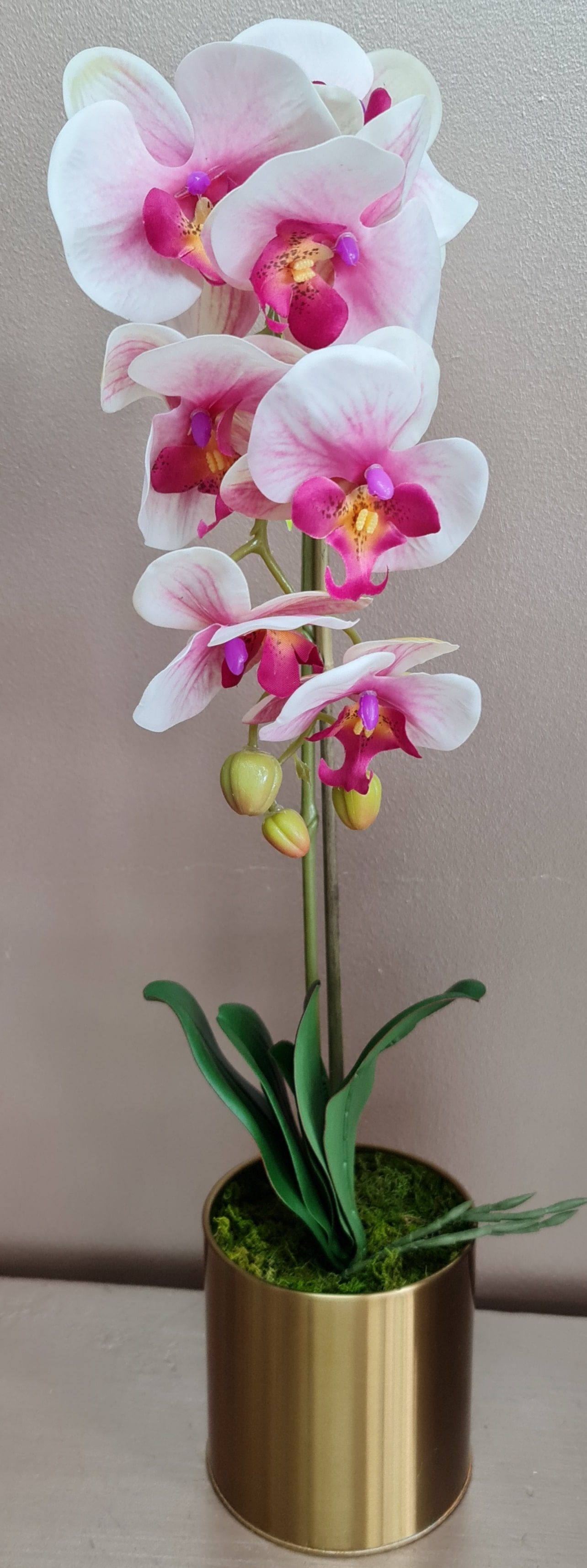 An elegant, stunning artificial phalaenopsis orchid displayed in a gold ceramic pot.  No watering necessary with this realistic artificial bloom, which can add a touch of colour and sophistication  to a room for years to come. Enjoy the beauty of the orchid in your home, office or shop without the need for maintenance.  Add a touch of elegance to your space year-round with a gorgeous, real-looking artificial phalaenopsis orchid from Linard.