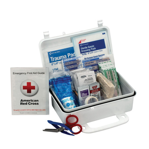 First Aid Only® 6060 Portable First Aid Kit, 5 in H x 8 in W x 3 in D, Plastic, 10 People Served