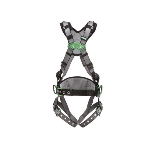 V-FIT™Safety Harness, Construction, Extra Small, Back & Hip D-Rings, Tongue Buckle Leg Straps, Shoulder Padding