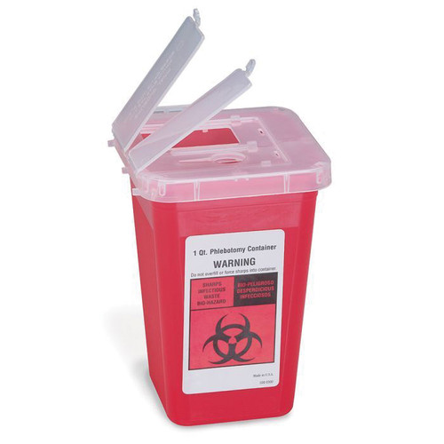 First Aid Only® M949 Sharps Container with Locking Top Flap, 3-1/2 in L x 3-1/2 in W x 6-1/2 in D, Plastic, Red